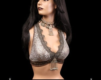 Halter, B, C, D or DD Cup, Creams, Golds, Light Gray, Coppers, Kuchi, Noir, Bellydance, Dance, Costume, Tribal, Fusion, Kuchi, Bra, Gothic