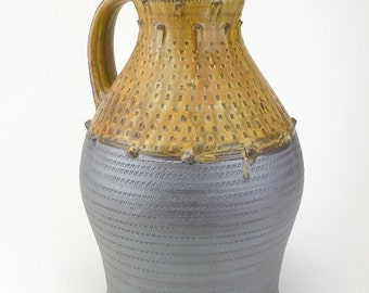 """Large Pitcher - Handmade Stoneware Pottery Pitcher - Super Beautiful! - Microwave and Dishwasher Safe- Ready to Ship - 12""""x7.5"""" - BAI-IP-1"""