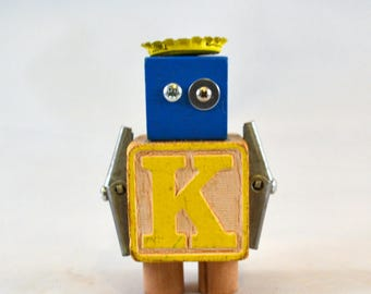 ROYALS K BLOCK BOT, Assemblage Art Wooden Block Robot Sculpture