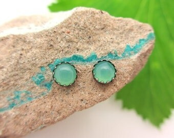Black Silver Chrysoprase Stud Earrings, 4mm