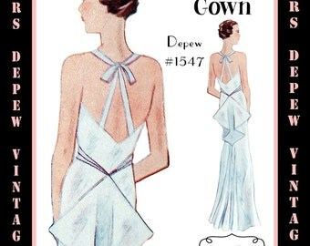 Vintage Sewing Pattern 1930's Evening or Wedding Gown in Any Size Depew 1547 - PLUS Size Included -INSTANT DOWNLOAD-