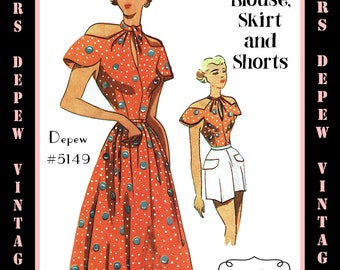 Vintage Sewing Pattern 1950's Blouse, Shorts and Skirt Depew 5149 in Any Size - PLUS Size Included  -INSTANT DOWNLOAD-