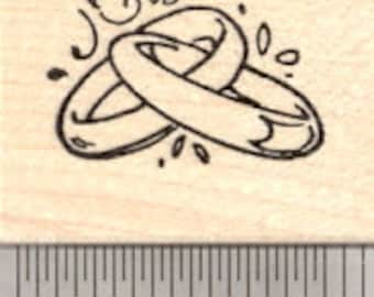 Wedding Band Rubber Stamp, Intertwined Rings D21606 Wood Mounted