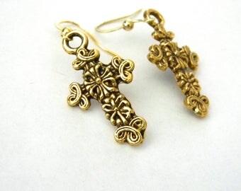 Gold Cross Earrings Gold Color Dangle Earrings