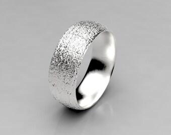 Acacia Koa Bark Wedding Ring in Recycled Silver, Mens Wedding Band Wood, 7mm wide Wedding Band, Size 9 Ring, Size 10 Ring, Koa Wood Jewelry