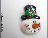 SALE Polymer Clay Frosty Snowman Face Charm Pendant
