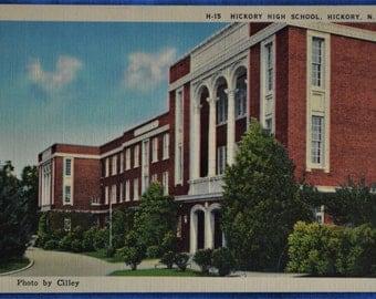 Hickory High School North Carolina NC Linen Postcard Unused