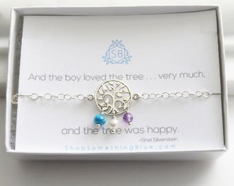 Gift for Mom • Tree & Birthstone Bracelet • Mother's Jewelry • Tree of Life • Family Tree Necklace • Family Jewelry • Shel Silverstein