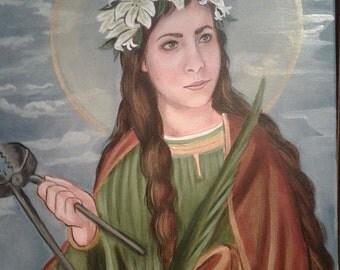 Saint Agatha of Sicily, Virgin, Martyr, Prints on 110lb White Card Stock, Catholic Art taken from my original acrylic painting Signed