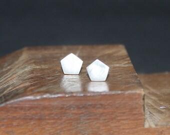 Geometric stud earrings, Pentagon sterling silver earrings, Minimalist earrings, Silver stud earrings, Tiny pentagon earrings, Post earrings