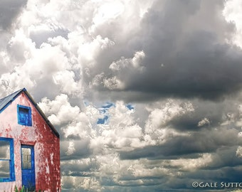 House Made of Sky, Clouds, Fine Art Print, Old House, Tin Roof, Blue Door, Composite Photo, Home or Office Art, Cloudy Sky, Wall Art