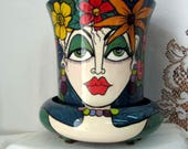 On HOLD for Krystal Ceramic Flower Pot/ Planter 2 Piece Multi-colored Impressionistic Flowers and two Women's Faces Teal Background on Etsy