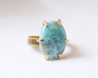 Larimar Ring, blue stone ring, natural stone, prong set, size 7