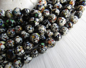 Black Round lampwork Glass beads,  opaque glossy base , multicolored speckled design, supplies indonesia 7-8mm (16 pcs) 6CB12-4