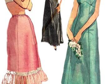 1950s Slip Pattern Full Slip Half Slip Long Short Vintage Sewing Simplicity Women's Misses Size 16 Bust 34 Inches