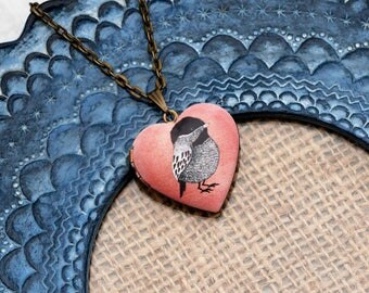Black and White Bird Locket Necklace, Bird Necklace, Heart Locket Pendant, Peach Bird Jewelry
