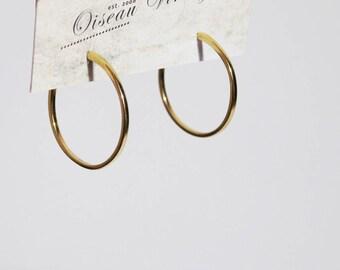 Vintage Gold Tone Hoop Stud Earrings