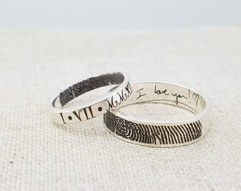 Personalized Fingerprint Jewelry - Mom Gift Ring - ACTUAL Handwriting Jewelry - Engraved Silver ...