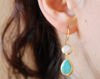 Long Turquoise and Pearl drop dangling Earrings made with sterling silver coated in 18K gold, teardrop Turquoise Jewelry birthstone earring