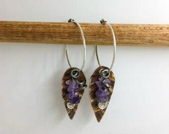 Amethyst Brass Leaf Hoop Earrings