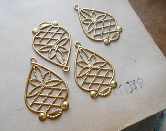 4 pcs vintage filigree findings raw brass charm