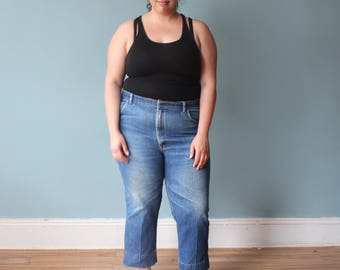 plus size jeans | distressed high waisted cropped jeans | 1980s XXL