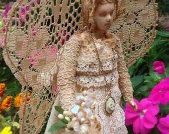 Collectible Handmade Vintage Lace Angel Art Doll