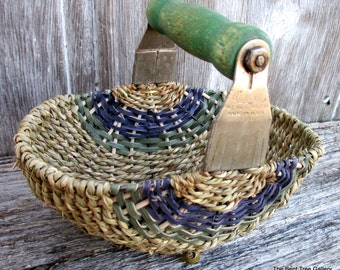 Vintage Pastry Blender Upcycled into a Basket with Green Handle Androck Made in USA