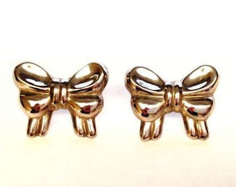 Vintage Silver Bow Earrings Marked 925