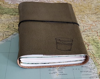 bucket list journal with maps as a travel journal retirement gift - sage green faux leather by tremundo