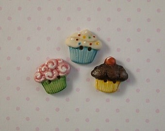 Party Cupcake Buttons set of 3