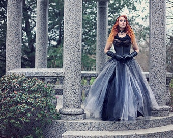 Bridal Tulle Skirt Two-Toned Gothic Fairytale Petticoat Black Grey Cosplay Costume- Petite to Plus size - Custom to order - XS - 5XL