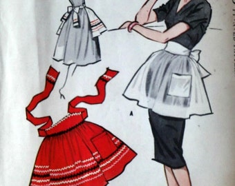 Vintage 50's McCall's Sample Half Apron Sewing Pattern, One Size, Uncut, 1950's Fashion Accessories