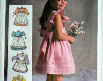 Vintage 80's Simplicity 6771 Sewing Pattern, Girls/Toddler Set of Pinafores, Size 3, Uncut FF, 1980's Children's Kids Fashion