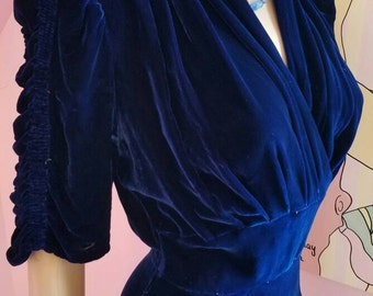 Vintage 1940s Blue Silk Velvet Dress...Small