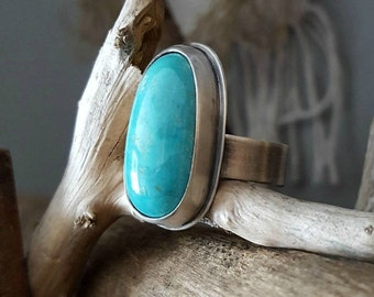 ON SALE - American Turquoise Ring, Chunky Sterling Silver Ring, Southwestern, Kingman Mountain, Stone Ring, Women's Statement Ring