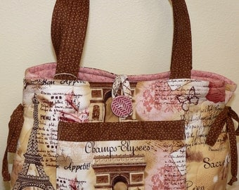 Quilted Tote Bag, Purse, French Fabric