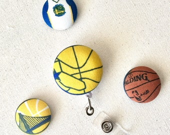 Retractable ID Badge Reel, Golden State Warriors,Warriors ID Tag, NBA,Nurse Badge