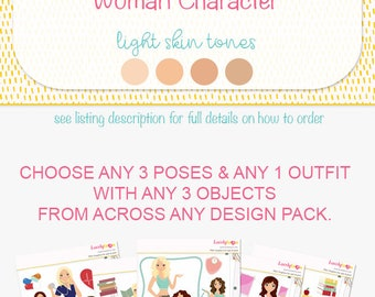 Custom character clip art, made to order digital illustration, your own character from my stock graphics, light skin version (M03 A)