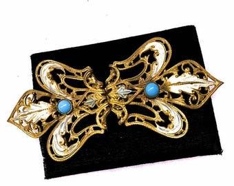 Antique Art Nouveau Belt Buckle 1900s 1910s Edwardian Gold Wash Filigree Fleur-de-lis Buckle White Enamel on Ornate Gold Gilt Turquoise Blue