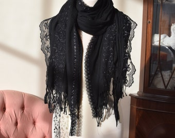 READY TO SHIP Black pashmina shawl wrap with vintage and contemporary lace
