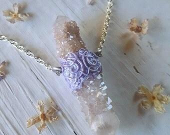 Spirit Quartz Necklace - Spirit Quartz Pendant - Double Pastel Lavender Pink Fairy Spirit Quartz Necklace with Silver Chain - Kaelynx