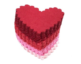 Heart Die Cuts, Scalloped, Lot of 100, Reds, Pinks