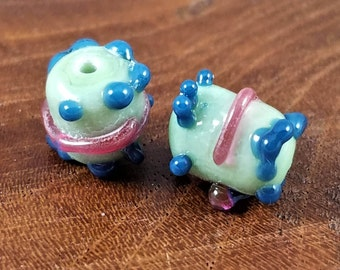 2 lampwork beads 1 pair Mint beads Raspberry and Blue accents Hand made Artisan Lamp work Glass Torch Funky Whimsical