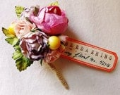 Bon Bon Pink Lavender yellow berries Roses Mixed bunch Vintage style Millinery Flower spray Bouquet floral corsage