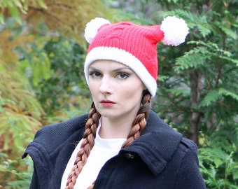 Red and White Christmas Hat Pom Pom Pigtail Beanie Hat Cable Knit Handmade Gift
