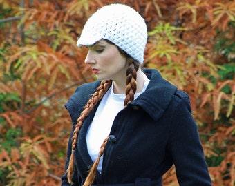 White Hat Billed Beanie Skull Cap Gift for Men Or Women