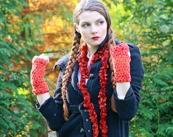 Soft Orange Scarf and Orange Fingerless Texting Gloves Set Long Soft Accesory  Gift for Girls, Teens or Women