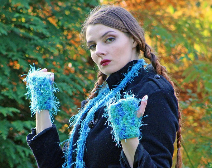Fuzzy Soft Teal Blue Fingerless Gloves and Skinny Scarf  Set Long Soft Accesory  Gift for Girls, Teens or Women