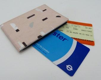 Oyster card holder, bus pass holder, travel card holder, wallet. Pink blocks print wallet . Card wallet, Oyster card wallet, credit card.